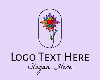 Crystal - Crystal Heart Flower  logo design