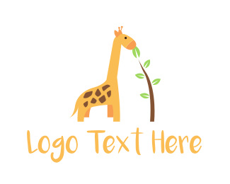 Yellow Leaf - Baby Giraffe Child logo design
