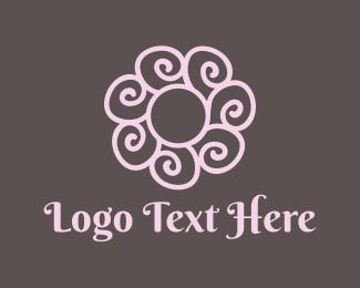 Florist - Spiral Pink Flower logo design