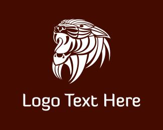 Snout - White Wild Lion logo design