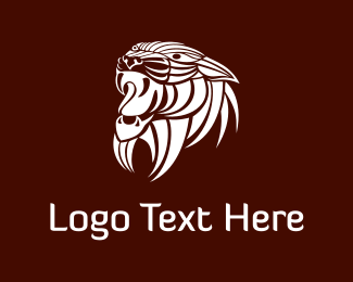 Fangs - White Wild Lion logo design
