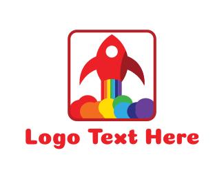 Birthday - Rainbow Rocket logo design