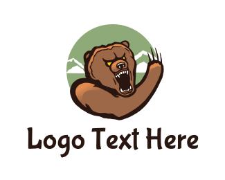 Fang - Aggressive Bear Circle logo design