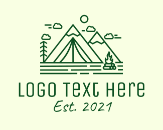 Camp - Minimalist Camping Tent logo design