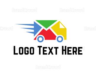 School Bus - Colorful Delivery Truck logo design