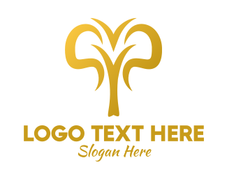 Calf - Golden Abstract Elephant  logo design