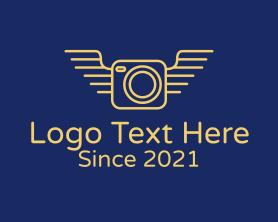 Camera - Yellow Camera Wings logo design