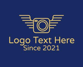 Camera Repair - Yellow Camera Wings logo design