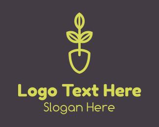 Growth - Green Seedling Shovel logo design
