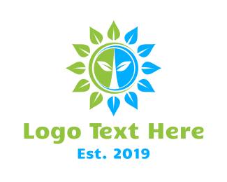 Green Sun - Green Blue Sun Flower logo design