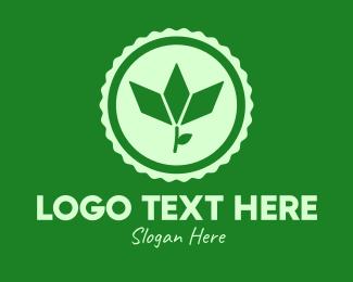 Herb Garden - Green Organic Vegan Emblem logo design