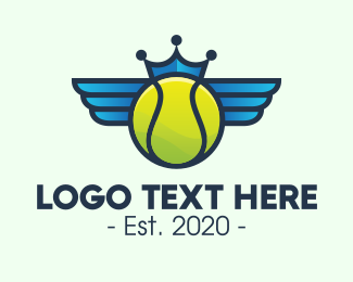 Tennis Ball - Tennis Crown Wings logo design