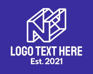 Wireframe - 3D Letter N logo design