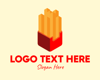 Fast Food Chain - Isometric French Fries logo design