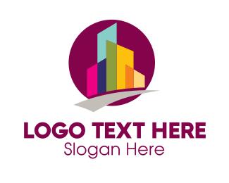 High Rise - Colorful City Skyscraper logo design
