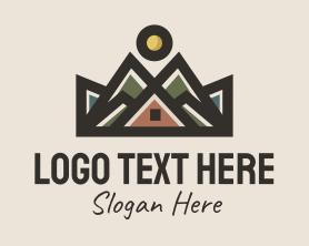 Hiking - Mountain Cabin Inn logo design