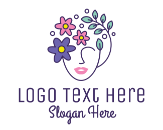 Hair Dye - Female Flower Head logo design