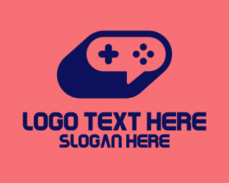 Game Developer - Blue Game Controller Chat logo design