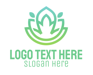 Wellness - Gradient Green Flower Outline logo design