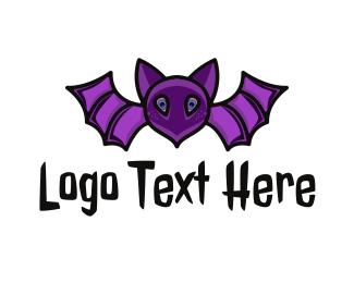 Nocturnal - Violet Bat logo design