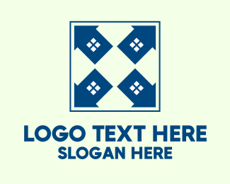 House Buying - Blue House Arrows logo design