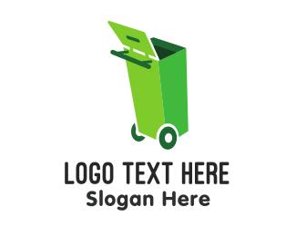 Bin - Green Garbage Can logo design