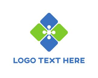 Tile - Diamond Flower logo design