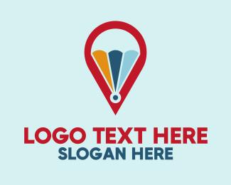 Locate - Parachute Map logo design
