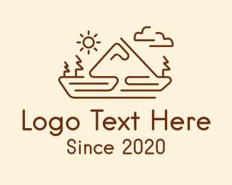 Landscape - Mountain Landscape Monoline logo design