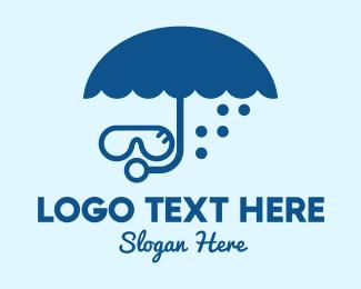 Swim - Umbrella Diver logo design