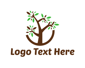 Bonsai - Brown Tree logo design