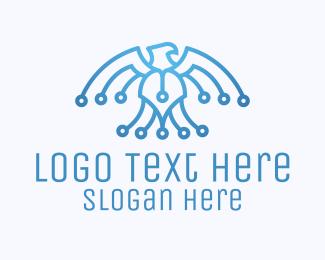 System - Digital Blue Bald Eagle logo design