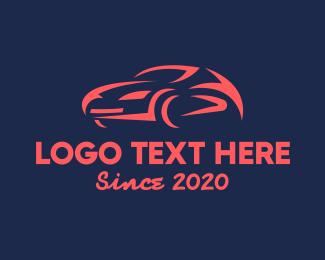 Driving - Red Racing Car logo design