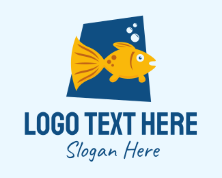 Marine Biology - Cute Pet Goldfish  logo design