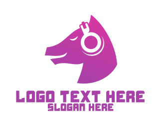 Techno - Purple Horse DJ Audio Headphones logo design
