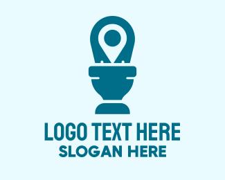 Public - Toilet Location Pin logo design