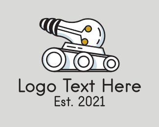 Cannon - Bulb War Tank logo design