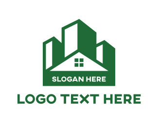 Green City - Green Building House logo design
