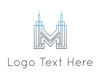 Skyscraper - Letter M Building logo design