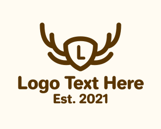 Antlers - Deer Antler Shield logo design