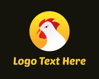Cock - White Rooster Cartoon logo design