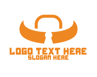 Ox - Orange Bull Lock logo design