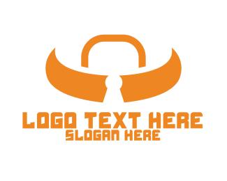 Lock - Orange Bull Lock logo design
