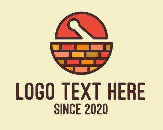 Recipe - Mortar & Pestle Brick Wall logo design