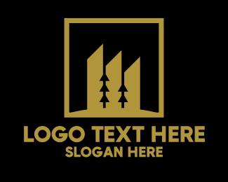 Home Renovation - Gold Building Construction Square  logo design