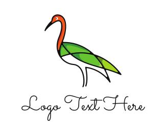 Crane - Green Crane Outline logo design