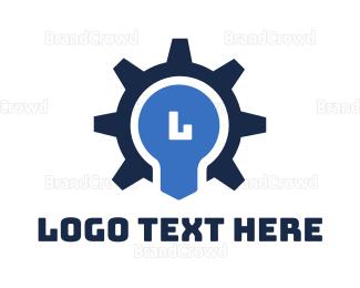 Bulb - Gear Bulb Lettermark logo design