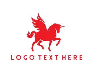 Pegasus - Red Unicorn logo design