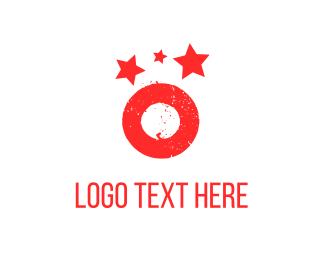 Galactic - Red Planet & Stars logo design