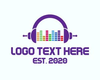 Dj - Music Mixer Headphones logo design